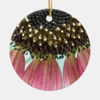 Pink Sunflower Custom Birthday Double-Sided Ceramic Round Christmas Ornament
