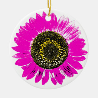 Pink Sunflower Double-Sided Ceramic Round Christmas Ornament
