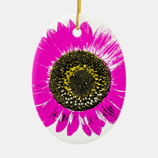 Pink Sunflower Double-Sided Oval Ceramic Christmas Ornament
