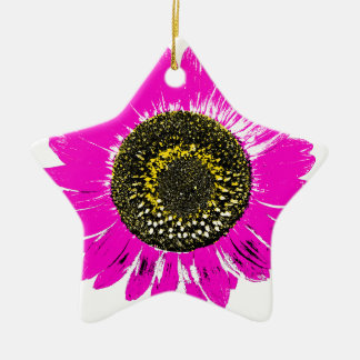 Pink Sunflower Double-Sided Star Ceramic Christmas Ornament