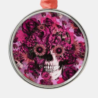 Pink sunflower ohm skull pattern. round metal christmas ornament