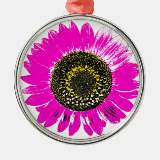Pink Sunflower Round Metal Christmas Ornament
