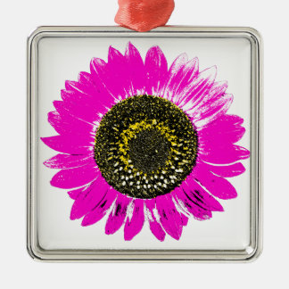 Pink Sunflower Square Metal Christmas Ornament