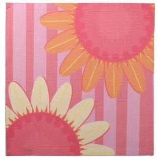 Pink Sunflower Stripe Napkin mojo_napkin