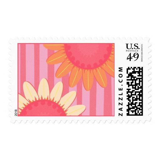 Pink Sunflower Stripe Postage