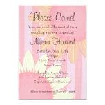 "Pink Sunflower Stripe Shower Invitation 5"" X 7"" Invitation Card"