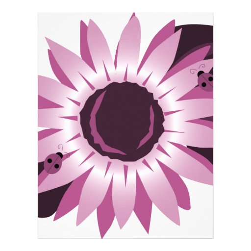 """Pink Sunflower With Ladybugs 8.5"""" X 11"""" Flyer"""