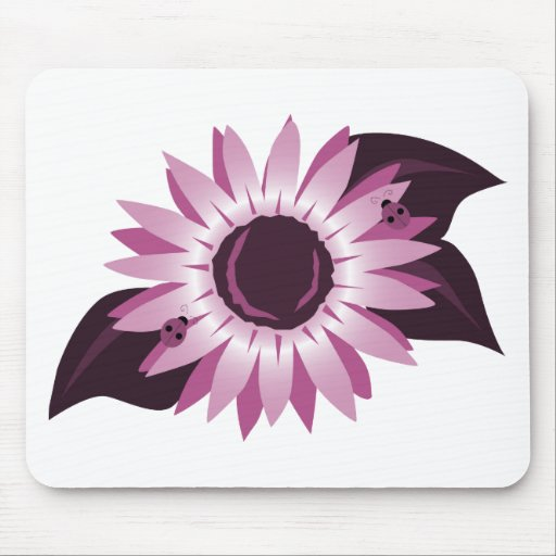 Pink Sunflower With Ladybugs Mouse Pad