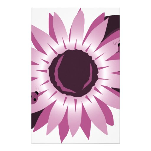 Pink Sunflower With Ladybugs Stationery Paper