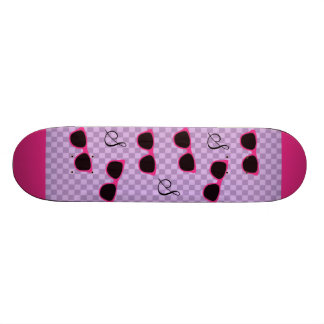 Pink Sunglasses and Purple Checkered Background Skateboard Deck