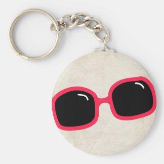 Pink Sunglasses Basic Round Button Keychain