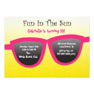 Pink SunGlasses Birthday Party Invitation