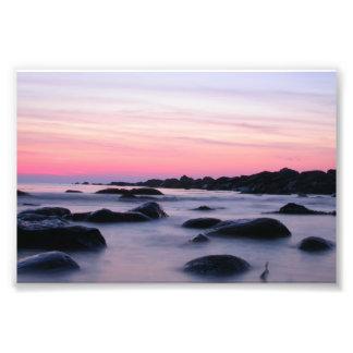 Pink Sunrise Ocean Beach Art Photo