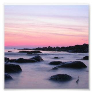 Pink Sunrise Ocean Beach Photo Art