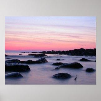 Pink Sunrise Ocean Beach Poster