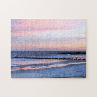 Pink Sunset Beach Ocean Photo Puzzle Jersey Shore