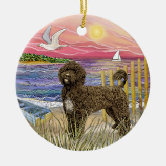 Pink Sunset - Brown Portuguese Water Dog Ceramic Ornament