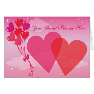 Pink Sunset Hearts & Balloons Card