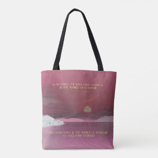 "Pink Sunset Landscape ""Finding Yourself"" Quote Tote Bag"