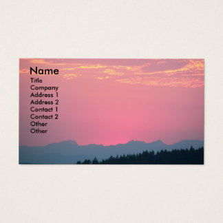 Pink Sunset Landscape Photo Business Card