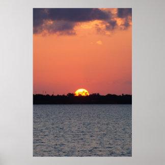 Pink Sunset on Nettles Island Poster