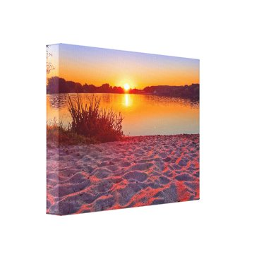 Beach Themed Pink Sunset on the Beach Wrapped Canvas