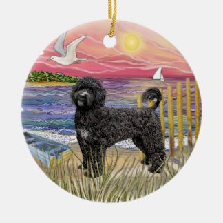 Pink Sunset - Portuguese Water Dog (black) Ceramic Ornament