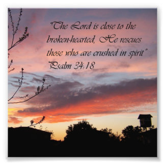 Pink Sunset Psalm 24:18 Encouragement Bible Print Photo Print