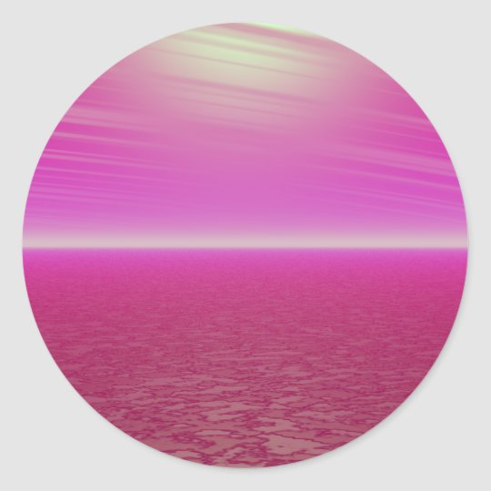 Pink Sunset Sea - CricketDiane Art Classic Round Sticker