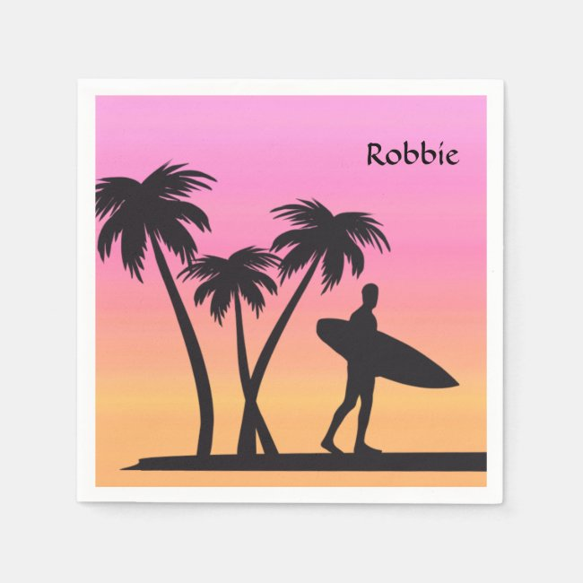 Pink Sunset Surfer in Silhouette Paper Napkins