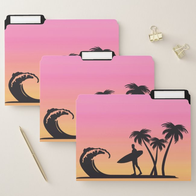 Pink Sunset Surfer Silhouette File Folders
