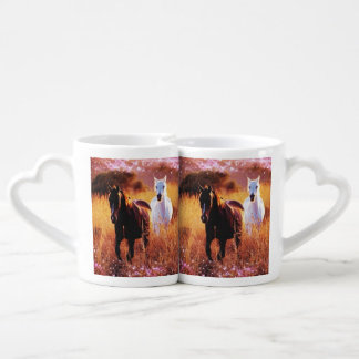 Pink Sunset Western country Galloping Horses Coffee Mug Set