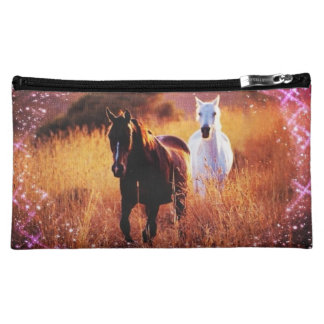 Pink Sunset Western country Galloping Horses Makeup Bag