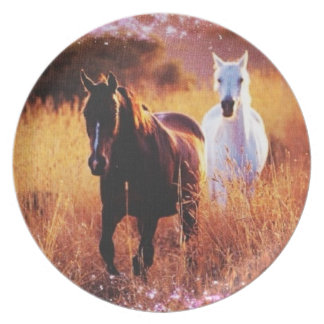 Pink Sunset Western country Galloping Horses Melamine Plate