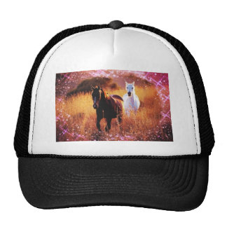 Pink Sunset Western country Galloping Horses Trucker Hat