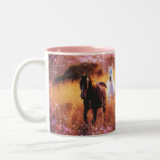 Pink Sunset Western country Galloping Horses Two-Tone Coffee Mug