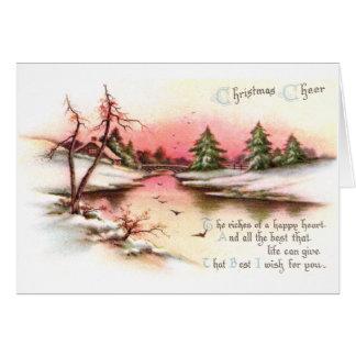Pink Sunset Winter Landscape Vintage Christmas Cards
