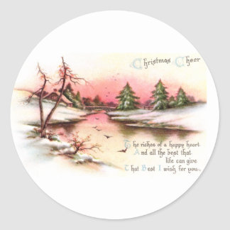 Pink Sunset Winter Landscape Vintage Christmas Classic Round Sticker