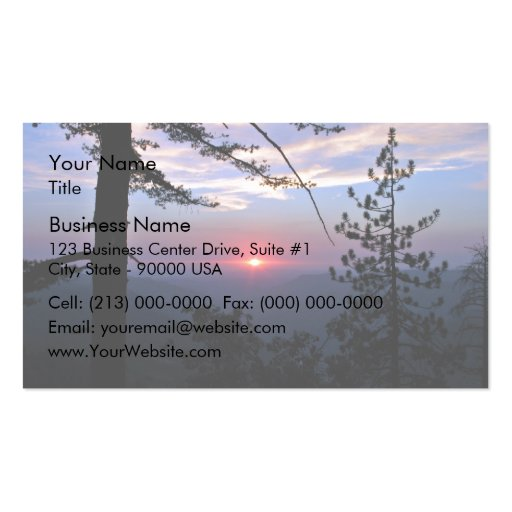 Pink sunset with pine trees and clouds Double-Sided standard business cards (Pack of 100)