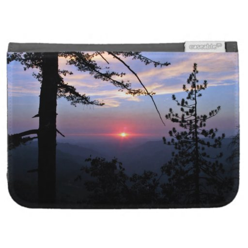 Pink sunset with pine trees and clouds case for kindle