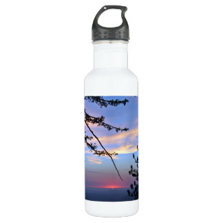 Pink sunset with pine trees and clouds stainless steel water bottle
