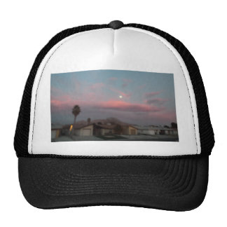 Pink sunset with the moon trucker hat