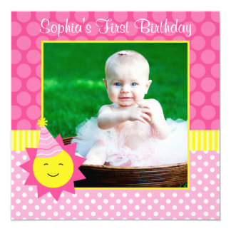 Pink Sunshine Polka Dot 1st Birthday Photo Card