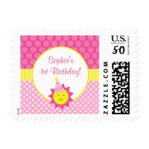 Pink Sunshine Polka Dot 1st Birthday Postage