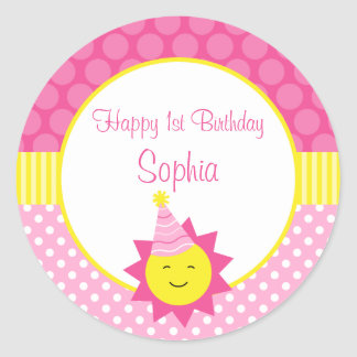 Pink Sunshine Polka Dot 1st Personalized Birthday Classic Round Sticker