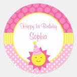 Pink Sunshine Polka Dot 1st Personalized Birthday Classic Round Sticker