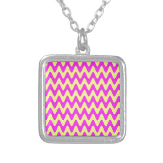 Pink Sunshine Waves Silver Plated Necklace