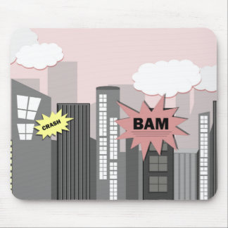 Pink Super Hero City Mouse Pad