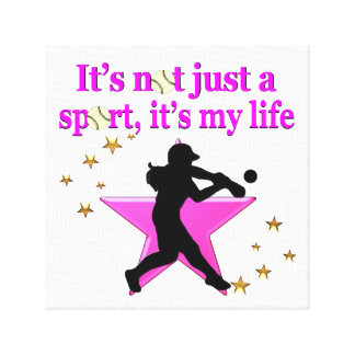 PINK SUPER STAR SOFTBALL IS MY LIFE DESIGN CANVAS PRINT