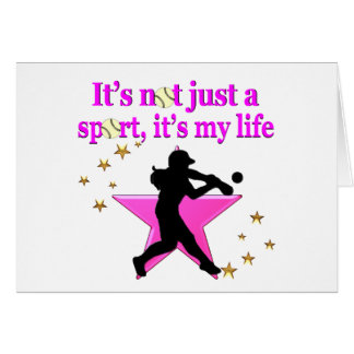PINK SUPER STAR SOFTBALL IS MY LIFE DESIGN CARD